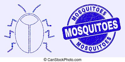 Blue Distress Mosquitoes Stamp and Bug Mosaic