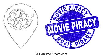 Blue Distress Movie Piracy Stamp Seal and Web Carcass Movie Map Marker