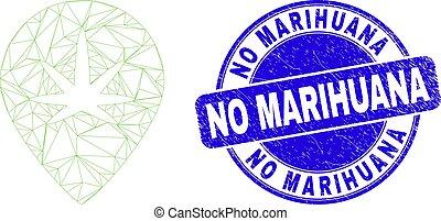Blue Distress No Marihuana Stamp and Web Mesh Cannabis Map Marker