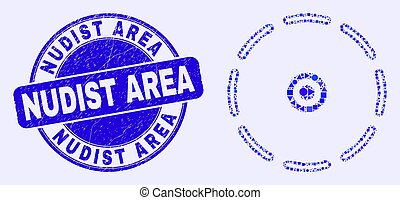 Blue Distress Nudist Area Stamp Seal and Round Perimeter Mosaic
