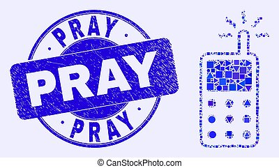Blue Distress Pray Stamp and Cell Phone Mosaic - Geometric ...