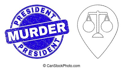 Blue Distress President Murder Stamp Seal and Web Carcass Justice Map Marker