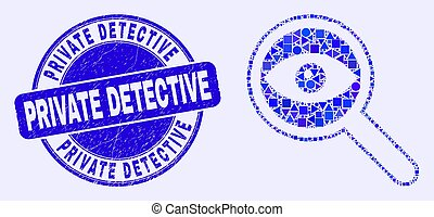 Blue Distress Private Detective Stamp and Investigate Mosaic...