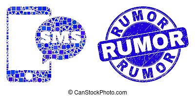 Blue Distress Rumor Stamp Seal and Smartphone SMS Mosaic