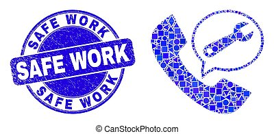 Blue Distress Safe Work Stamp Seal and Service Phone Call Mosaic