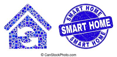 Blue Distress Smart Home Stamp Seal and Refresh House Mosaic