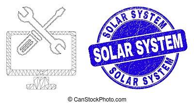 Blue Distress Solar System Stamp and Web Mesh Desktop Options