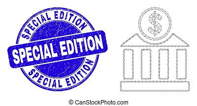 Blue Distress Special Edition Stamp and Web Carcass Dollar Bank