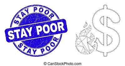 Blue Distress Stay Poor Stamp and Web Mesh Dollar Fire - Web...