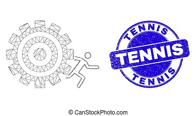 Blue Distress Tennis Stamp and Web Carcass Man Escape Progress Wheel
