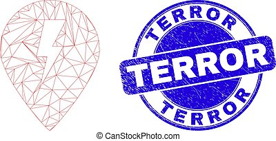 Blue Distress Terror Stamp and Web Mesh Electric Map Marker