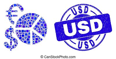 Blue Distress USD Seal and Currency Pie Chart Mosaic