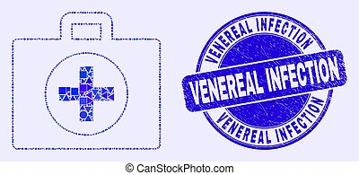 Geometric medical case mosaic icon and Venereal Infection seal stamp. Blue vector round distress stamp with Venereal Infection title. Abstract mosaic of medical case created of round, triangles,