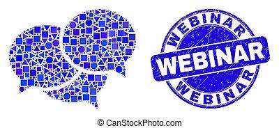 Blue Distress Webinar Stamp Seal and Webinar Messages Mosaic