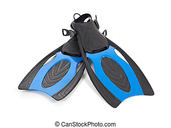 Blue diving fins on a white background - A set of blue...