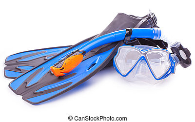 Blue diving goggles, snorkel and flippers on white background.
