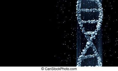 Blue DNA molecule model, 3D rendering