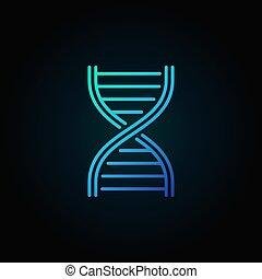 Blue DNA strand vector outline icon or logo element