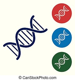 Blue DNA symbol icon isolated on white background. Set color icon in circle buttons. Vector Illustration