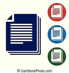 Blue Document icon isolated on white background. File icon. Checklist icon. Business concept. Vector Illustration
