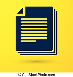 Blue Document icon isolated on yellow background. File icon. Checklist icon. Business concept. Vector Illustration