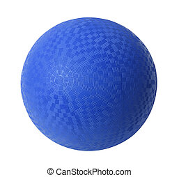 Blue Dodge Ball - Blue Rubber Ball Isolated on White...