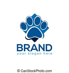 Blue dog paws, logo vector