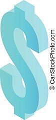 Blue dollar sign icon, isometric style