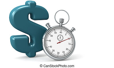 Blue dollar sign with stopwatch