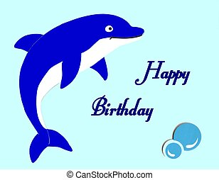 Beautiful blue dolphin happy bithday card