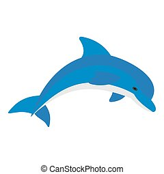 Blue dolphin icon isolated
