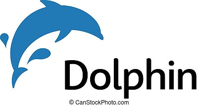 Blue dolphin jumping out of the water, a fantastic trick in the water park. Isolated vector abstract logo.