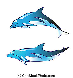 Blue dolphin silhouettes