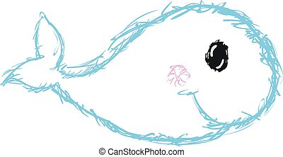 Blue dolphin sketch, vector or color illustration.