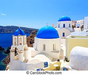 Blue Dome Churches Oia Santorini