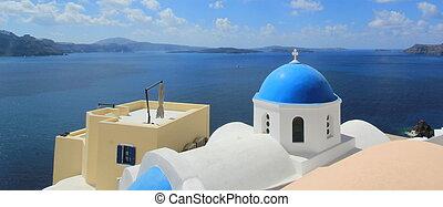 Blue dome of a church, Oia, Santorini, Greece
