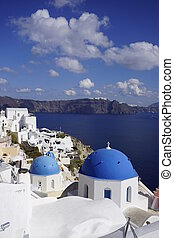 Blue Domed Church in Oia Santorini
