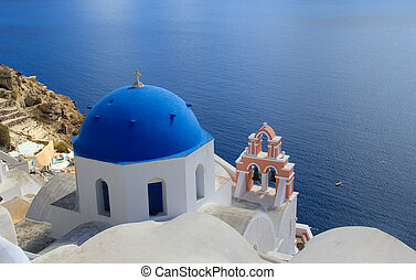 Blue Domed Church in Santorini