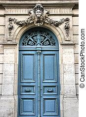 Blue door - Old door in Versailles, France. French town.