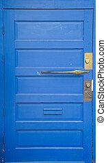 Blue Door with Brass
