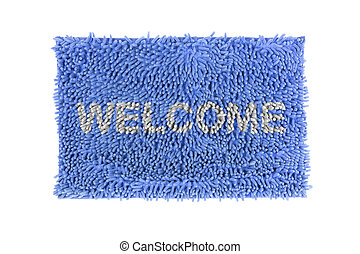 doormat - Blue doormat isolated on white background.