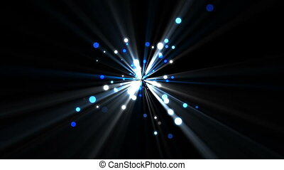 Blue dots moving and coming from a shining star against a...