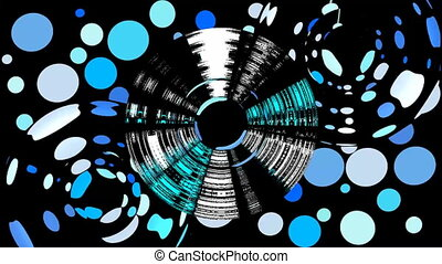 Blue dots on black area with circle bubbles animation. Abstract video background.
