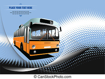 Blue dotted background with tourist bus image. Coach. Vector illustration