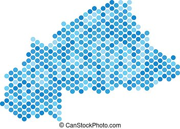 Blue Dotted Burkina Faso Map