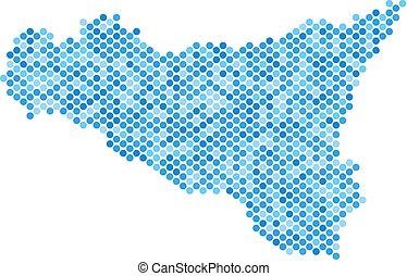 Blue Dotted Sicilia Map - Blue dotted Sicilia map. Vector...