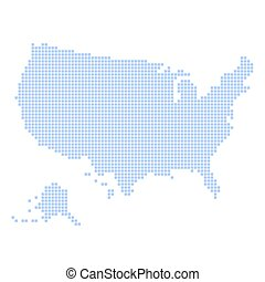 Blue Dotted USA Map on White Background. Vector