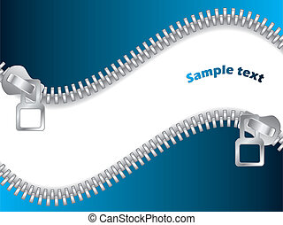 Blue Double Zippered background design with white space