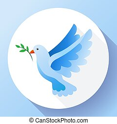 Blue dove with branch peace icon. Flying blue bird and peace...