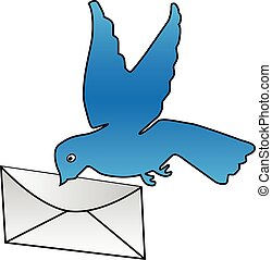 Blue dove with white letter, simple vector illustration